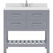 Caroline Estate 36'' Single Bathroom Vanity Set in Grey, Dazzle White Quartz Top with Round Sink