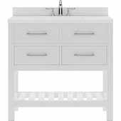 Caroline Estate 36'' Single Bathroom Vanity Set in White, Dazzle White Quartz Top with Round Sink