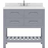 Caroline Estate 36'' Single Bathroom Vanity Set in Grey, Dazzle White Quartz Top with Square Sink