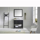 Caroline Estate 36'' Single Bathroom Vanity Set in Espresso, Italian Carrara White Marble Top with Round Sink, Available with Optional Faucet, Mirror Included