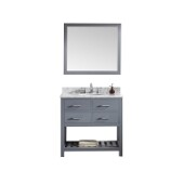 Caroline Estate 36'' Single Bathroom Vanity Set in Grey, Italian Carrara White Marble Top with Round Sink, Brushed Nickel Faucet, Mirror Included