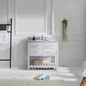 Caroline Estate 36'' Single Bathroom Vanity Set in White, Italian Carrara White Marble Top with Round Sink