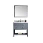 Caroline Estate 36'' Single Bathroom Vanity Set in Grey, Italian Carrara White Marble Top with Square Sink, Brushed Nickel Faucet, Mirror Included