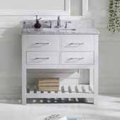 Caroline Estate 36'' Single Bathroom Vanity Set in White, Italian Carrara White Marble Top with Square Sink, Brushed Nickel Faucet