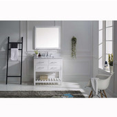 Caroline Estate 36'' Single Bathroom Vanity Set in White, Italian Carrara White Marble Top with Square Sink, Available with Optional Faucet, Mirror Included