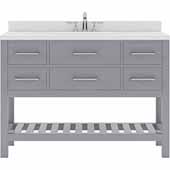 Caroline Estate 48'' Single Bathroom Vanity Set in Grey, Dazzle White Quartz Top with Round Sink