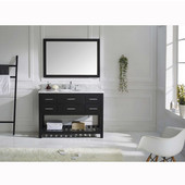 Caroline Estate 48'' Single Bathroom Vanity Set in Espresso, Italian Carrara White Marble Top with Round Sink, Available with Optional Faucet, Mirror Included
