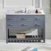 Caroline Estate 48'' Single Bathroom Vanity Set in Grey, Italian Carrara White Marble Top with Round Sink