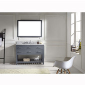 Caroline Estate 48'' Single Bathroom Vanity Set in Grey, Italian Carrara White Marble Top with Round Sink, Mirror Included