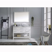 Caroline Estate 48'' Single Bathroom Vanity Set in White, Dazzle White Quartz Top with Round Sink, Mirror Included
