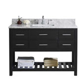 Caroline Estate 48'' Single Bathroom Vanity Set in Espresso, Italian Carrara White Marble Top with Square Sink, Brushed Nickel Faucet