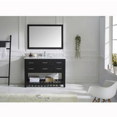 Caroline Estate 48'' Single Bathroom Vanity Set in Espresso, Italian Carrara White Marble Top with Square Sink, Available with Optional Faucet, Mirror Included