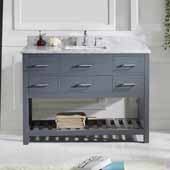 Caroline Estate 48'' Single Bathroom Vanity Set in Grey, Italian Carrara White Marble Top with Square Sink, Brushed Nickel Faucet