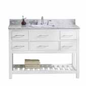 Caroline Estate 48'' Single Bathroom Vanity Set in White, Italian Carrara White Marble Top with Square Sink, Brushed Nickel Faucet