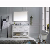Caroline Estate 48'' Single Bathroom Vanity Set in White, Dazzle White Quartz Top with Square Sink, Polished Chrome Faucet, Mirror Included