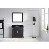 Victoria 36'' Single Bathroom Vanity Set in Espresso, Black Galaxy Granite Top with Round Sink, Brushed Nickel Faucet, Mirror Included