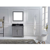 Victoria 36'' Single Bathroom Vanity Set in Grey, Black Galaxy Granite Top with Round Sink, Mirror Included