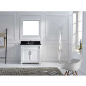 Victoria 36'' Single Bathroom Vanity Set in White, Black Galaxy Granite Top with Round Sink, Mirror Included