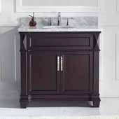 Victoria 36'' Single Bathroom Vanity Set in Espresso, Italian Carrara White Marble Top with Round Sink