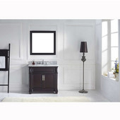 Victoria 36'' Single Bathroom Vanity Set in Espresso, Italian Carrara White Marble Top with Round Sink, Brushed Nickel Faucet, Mirror Included