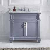 Victoria 36'' Single Bathroom Vanity Set in Grey, Italian Carrara White Marble Top with Round Sink