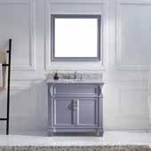 Victoria 36'' Single Bathroom Vanity Set in Grey, Italian Carrara White Marble Top with Round Sink, Polished Chrome Faucet, Mirror Included