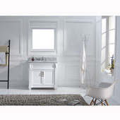 Victoria 36'' Single Bathroom Vanity Set in White, Italian Carrara White Marble Top with Round Sink, Mirror Included