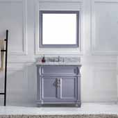Victoria 36'' Single Bathroom Vanity Set in Grey, Italian Carrara White Marble Top with Square Sink, Brushed Nickel Faucet, Mirror Included