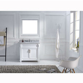 Victoria 36'' Single Bathroom Vanity Set in White, Italian Carrara White Marble Top with Square Sink, Polished Chrome Faucet, Mirror Included