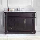 Victoria 48'' Single Bathroom Vanity Set in Espresso, Italian Carrara White Marble Top with Round Sink
