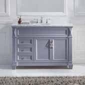Victoria 48'' Single Bathroom Vanity Set in Grey, Italian Carrara White Marble Top with Round Sink