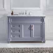 Victoria 48'' Single Bathroom Vanity Set in Grey, Italian Carrara White Marble Top with Round Sink