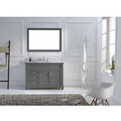 Victoria 48'' Single Bathroom Vanity Set in Grey, Italian Carrara White Marble Top with Round Sink, Polished Chrome Faucet, Mirror Included