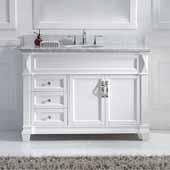 Victoria 48'' Single Bathroom Vanity Set in White, Italian Carrara White Marble Top with Round Sink