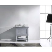 Julianna 32'' Single Bathroom Vanity Set in Grey, Italian Carrara White Marble Top with Round Sink, Available with Optional Faucet, Mirror Included