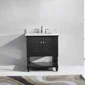 Julianna 32'' Single Bathroom Vanity Set in Espresso, Italian Carrara White Marble Top with Square Sink
