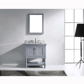 Julianna 32'' Single Bathroom Vanity Set in Grey, Italian Carrara White Marble Top with Square Sink, Available with Optional Faucet, Mirror Included