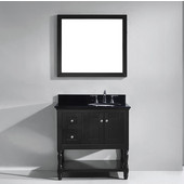 Julianna 36'' Single Bathroom Vanity Set in Espresso, Black Galaxy Granite Top with Round Sink, Brushed Nickel Faucet, Mirror Included