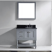 Julianna 36'' Single Bathroom Vanity Set in Grey, Black Galaxy Granite Top with Round Sink, Mirror Included