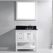 Julianna 36'' Single Bathroom Vanity Set in White, Black Galaxy Granite Top with Round Sink, Polished Chrome Faucet, Mirror Included