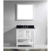 Julianna 36'' Single Bathroom Vanity Set in White, Black Galaxy Granite Top with Square Sink, Brushed Nickel Faucet, Mirror Included