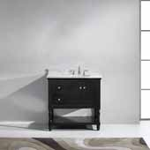 Julianna 36'' Single Bathroom Vanity Set in Espresso, Italian Carrara White Marble Top with Round Sink