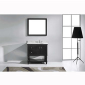 Julianna 36'' Single Bathroom Vanity Set in Espresso, Italian Carrara White Marble Top with Round Sink, Available with Optional Faucet, Mirror Included