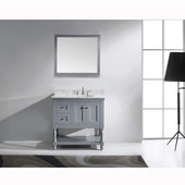 Julianna 36'' Single Bathroom Vanity Set in Grey, Italian Carrara White Marble Top with Round Sink, Available with Optional Faucet, Mirror Included