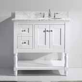 Julianna 36'' Single Bathroom Vanity Set in White, Italian Carrara White Marble Top with Round Sink