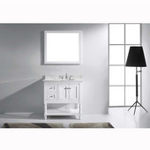 Julianna 36'' Single Bathroom Vanity Set in White, Italian Carrara White Marble Top with Round Sink, Available with Optional Faucet, Mirror Included