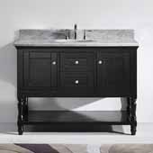 Julianna 48'' Single Bathroom Vanity Set in Espresso, Italian Carrara White Marble Top with Round Sink