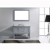 Julianna 48'' Single Bathroom Vanity Set in Grey, Italian Carrara White Marble Top with Round Sink, Available with Optional Faucet, Mirror Included