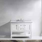 Julianna 48'' Single Bathroom Vanity Set in White, Italian Carrara White Marble Top with Round Sink, Brushed Nickel Faucet