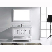 Julianna 48'' Single Bathroom Vanity Set in White, Italian Carrara White Marble Top with Round Sink, Available with Optional Faucet, Mirror Included